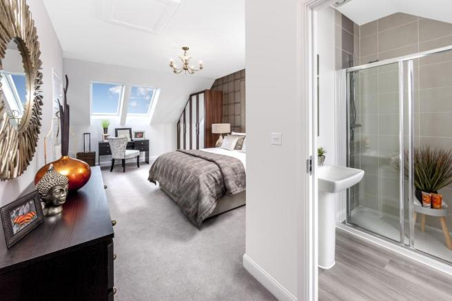 The Woodvale master bedroom and en-suite at Beaufort Place, Crawley