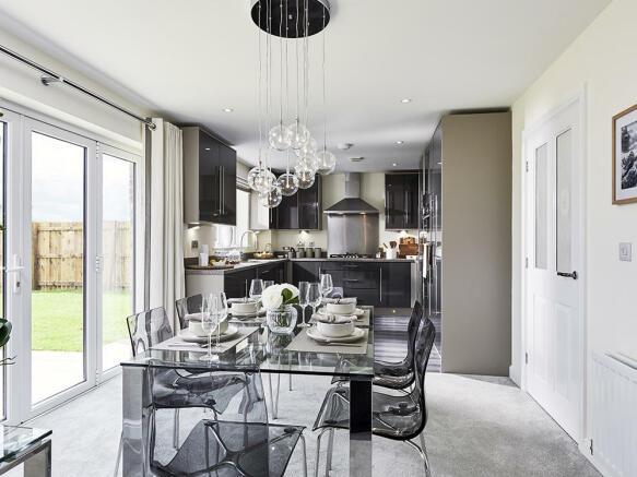 Light and spacious kitchen/dining area with bi fold doors