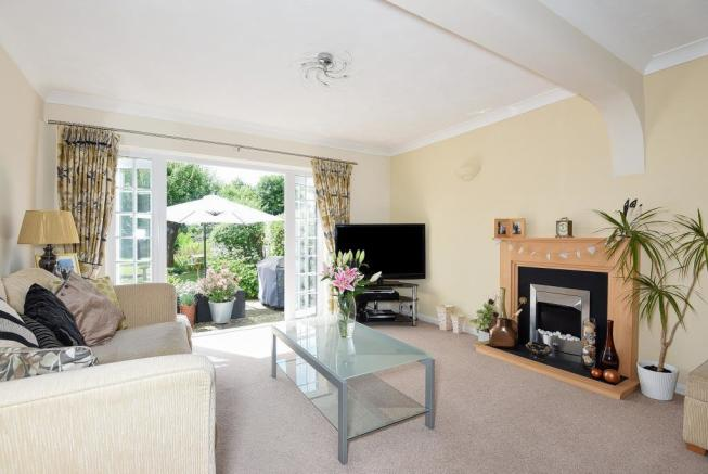 Living Room with French Doors into Garden