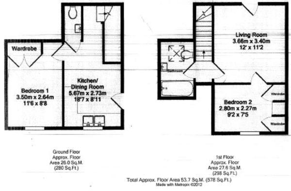 Floor plan - Two Bedroom Annexe