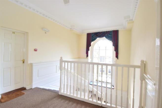 The communal landing area and feature window