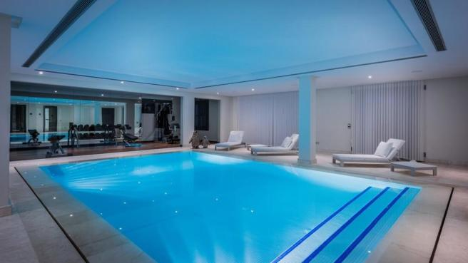 Evening indoor pool