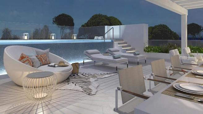 Evening roof terrace