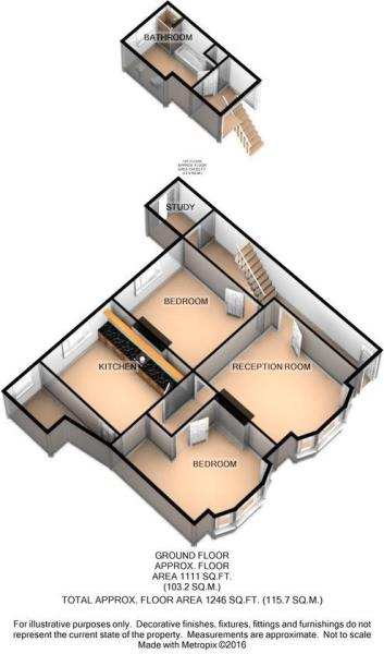 3D Floor Plan - Garden Flat, 2 Fortescue Villas, 1