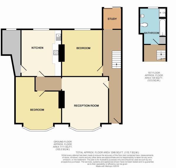 Floor Plan - Garden Flat, 2 Fortescue Villas, 13 G