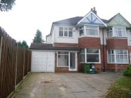 semi detached property to rent in Reservoir Road, Solihull