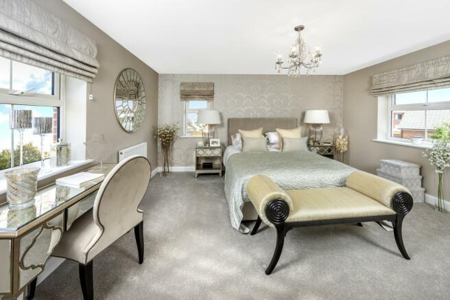 Moorecroft master bedroom at Spireswood Grange