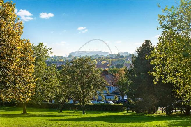 Wembley Stadium from silver jubilee park
