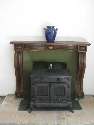 Fireplace, dining rm
