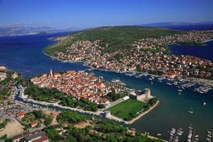 View towards Ciovo island and Trogir.