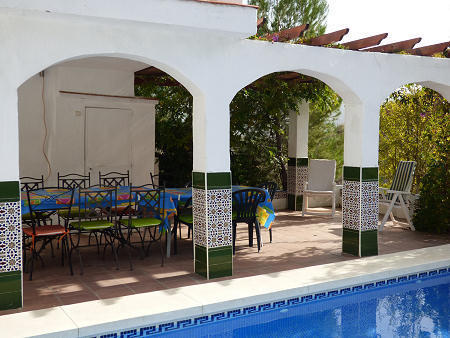 Covered pool terrace