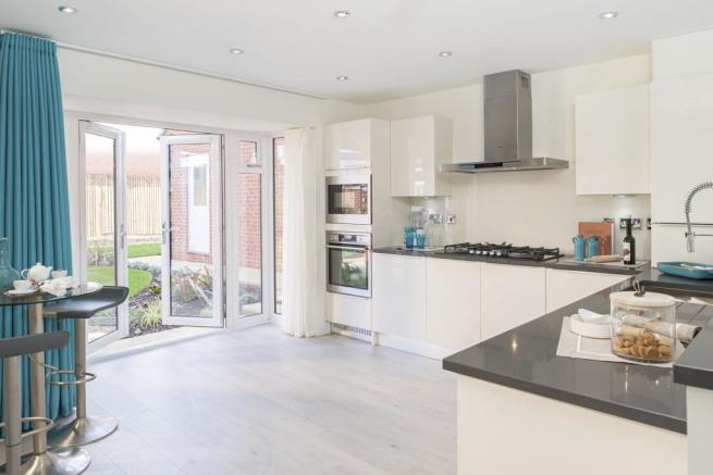 Spacious kitchen with French doors