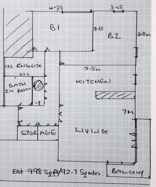 Drawn floorplan