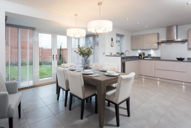 Kitchen with dining and French doors