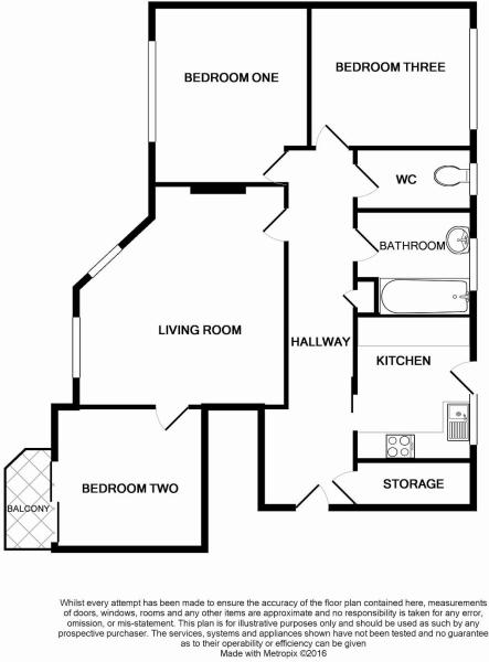 Floorplan of 2 bedrooms apartment Worthing BN11