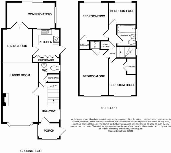 Floorplan of 4 bedrooms house Littlehampton BN17