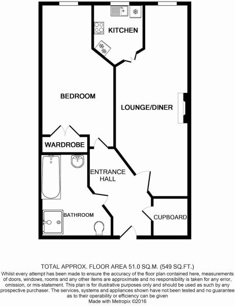 Floorplan of 1 bedroom apartment Worthing BN11