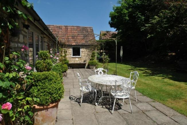 The Stables, Ashley, Box, exterior picture terrace and garden