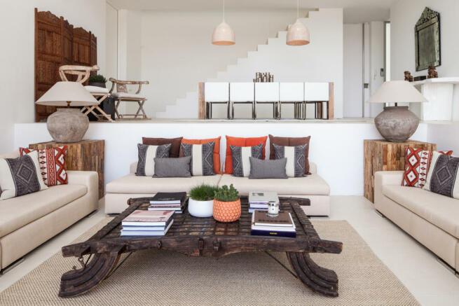 Living room dining sunken seating area Villa Gertrudis Ibiza