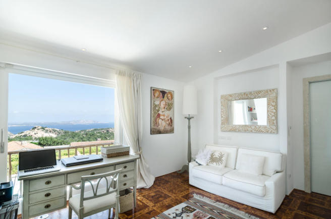 Office parquet floor Villa Cassedda Porto Cervo Sardinia