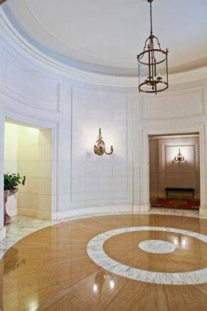 Hallway wood marble floor Eiffel Montaigne Paris