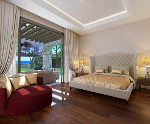 Bedroom wood floor large window Venus Rock Golf Resort Imperial Residences Cyprus