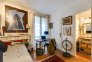 Office guest bedroom parquet floor ensuite bathroom Rue Jean Mermoz Paris