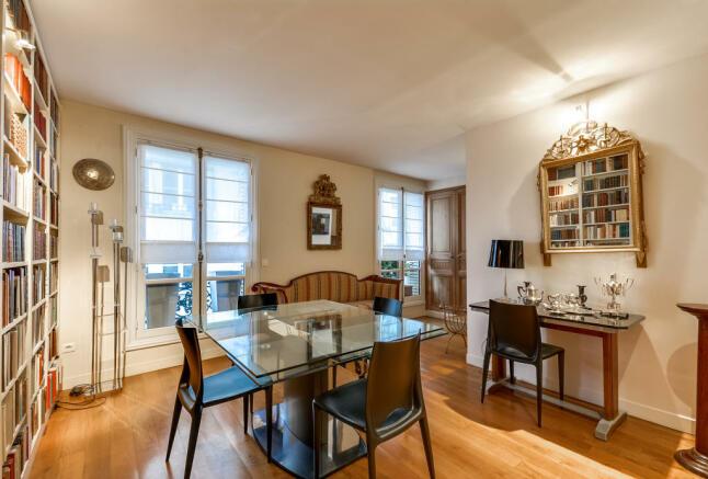 Dining room wood floor bookcase Rue Jean Mermoz Paris