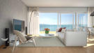 TV and sitting room area CGI at Les Terrasses development overlooking Lake Geneva