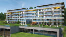 External facade CGI of Phase A apartments with sports facilities beneath at Les Terrasses by Lac Lemán