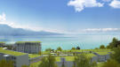 CGI of Les Terrasses du Lac development from rear with views of Lac Lemán