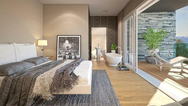 Bedroom with en- suite bathroom and terrace CGI at Les Terrasses du Lac
