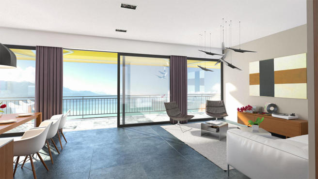 Sitting room and dining room CGI overlooking Lac Lemán at Les Terrasses du Lac