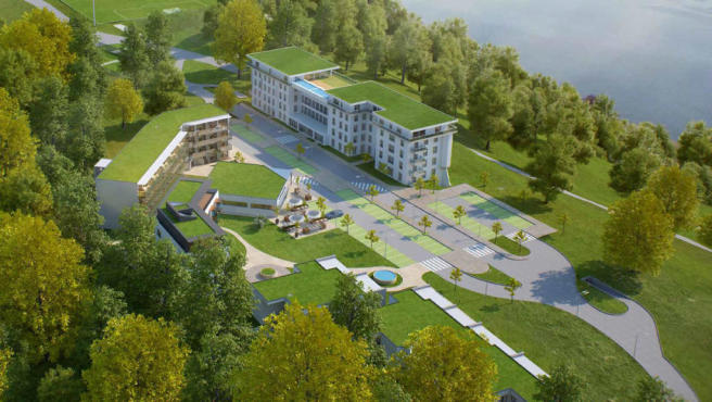 Aerial CGI of Les Terrasses du Lac development on the banks of Lac Lemán