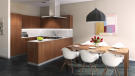 Kitchen and dining room CGI in apartment at Les Terrasses by lac Lemán