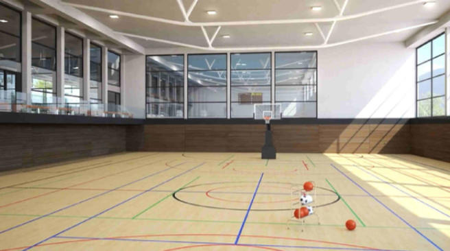 CGI of Les Terrasses du Lac basketball court