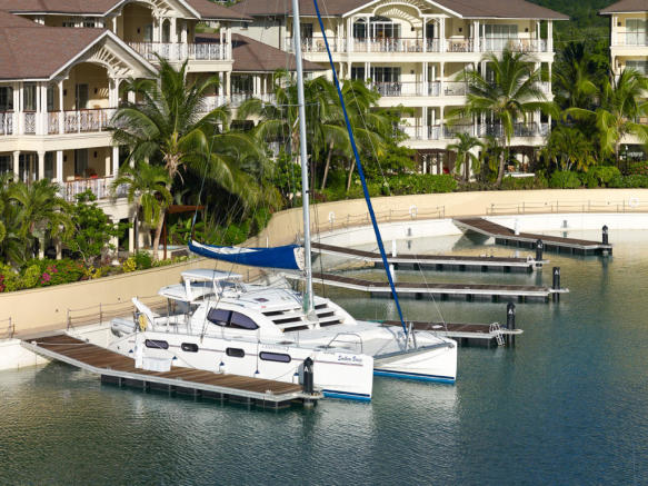 Marina view and catamaran at The Landings in St Lucia