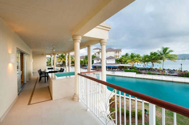 Terrace views over water at The Landings in St Lucia