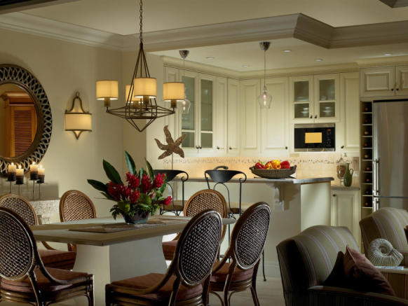Dining and kitchen area in apartment at The Landings in St Lucia