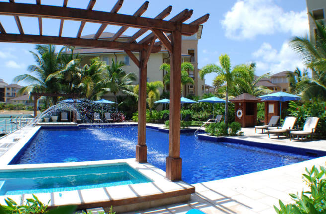 Main pool area with Jacuzzis at The Landings in St Lucia