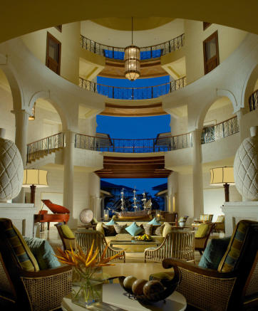 Lobby area in hotel at The Landings in St Lucia by night