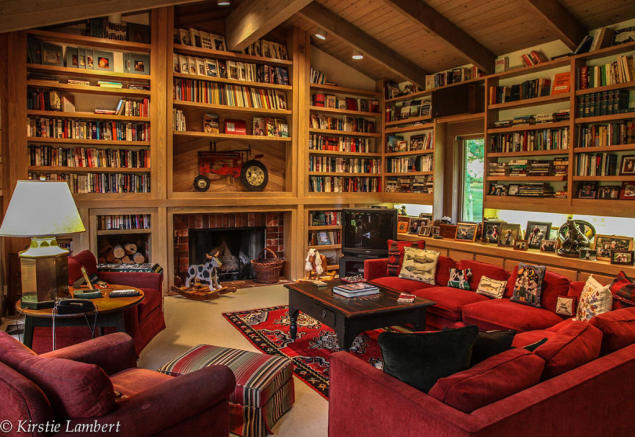 Living room bookshelves fireplace EE-DA-HO Ranch Arizona