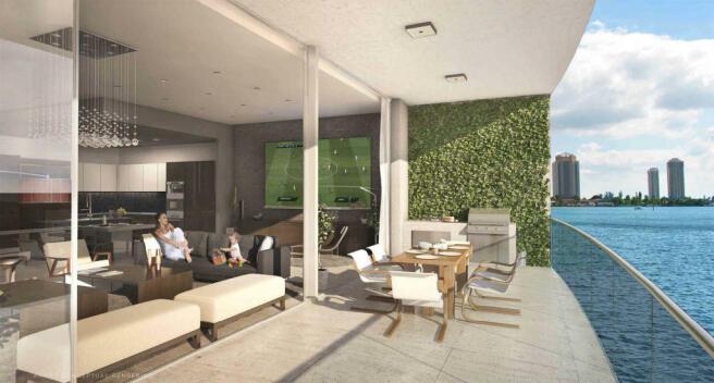 Living room sliding doors ocean view Echo Aventura Miami Florida