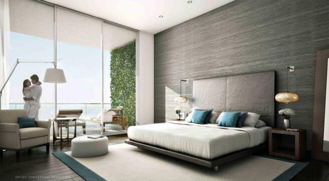 Bedroom sliding doors balcony Echo Aventura Miami Florida