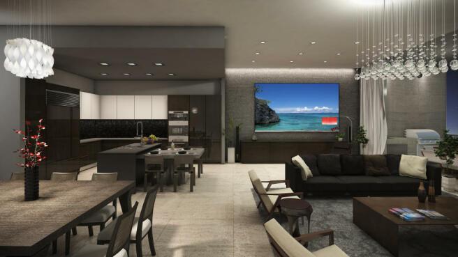 Living room dining kitchen open plan stone floor modern Echo Aventura Miami Florida