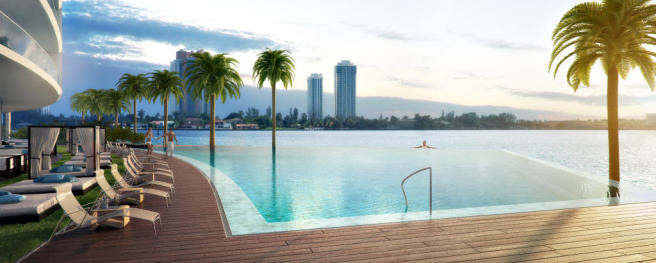 Swimming pool infinity edge sun terrace bay view ocean sea Echo Aventura Miami Florida