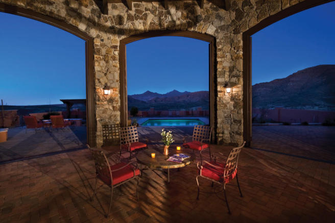 Covered terrace outdoor dining area swimming pool South Mill Ranch Arizona