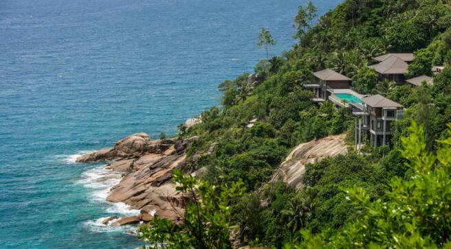 Aerial view Four Seasons Seychelles