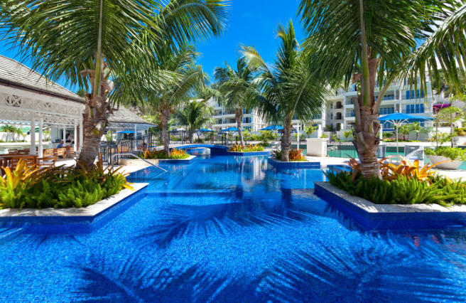 Swimming pool palm trees Port Ferdinand Barbados