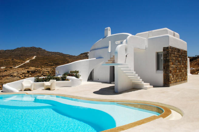Rear facade swimming pool sun terrace Fanari Mykonos